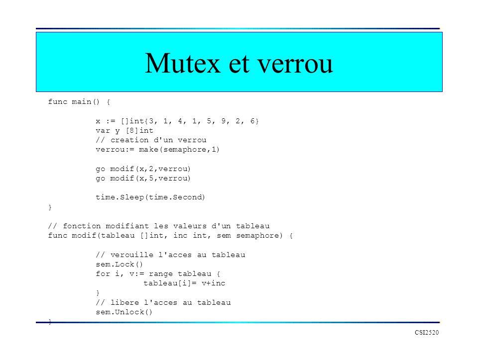 Mutex et verrou func main() { x := []int{3, 1, 4, 1, 5, 9, 2, 6}